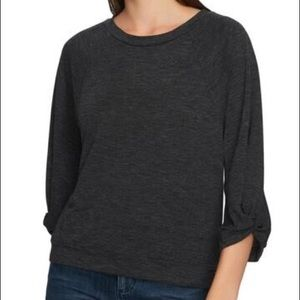 1.State Twist Knot Sleeve Crew Neck Top
